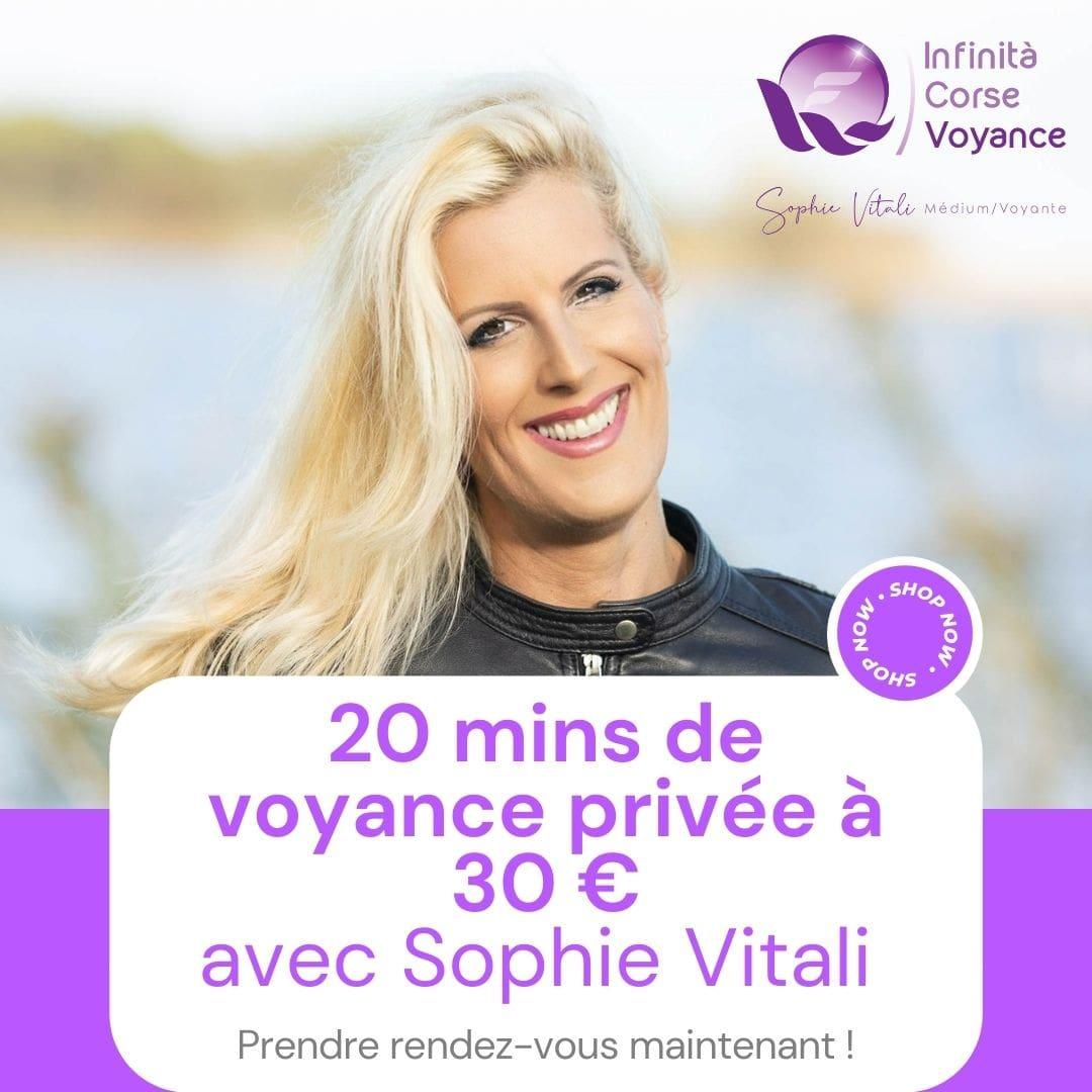 20 minutes de voyance par téléphone en privé avec Sophie Vitali célèbre médium et parapsychologue à 30 €